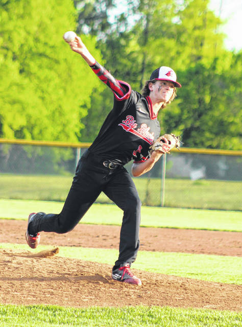 Point Pleasant sophomore Kyelar Morrow releases a pitch during a May 7 baseball game against Poca in Point Pleasant, W.Va.