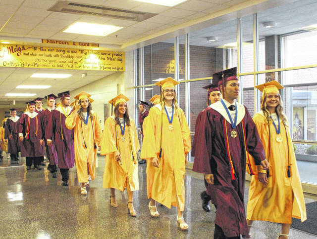 The Meigs High School Class of 2019 makes their way to the gymnasium for the commencement exercises on Friday evening.