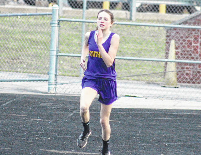 Southern's Sydney Roush competes in the 800m run at the River Valley Open on April 2 in Bidwell, Ohio.