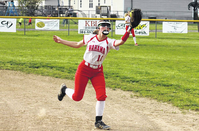 Wahama senior Hannah Billups moves to the right and catches a fly ball, during the Lady Falcons' tournament-opening 4-2 victory over Williamstown on Wednesday in Hartford, W.Va.