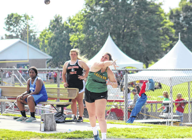 Eastern junior Caterina Miecchi finishes fourth in the shot put at the Region 11 championships at Fairfield Union High School on Wednesday in Rushville, Ohio.