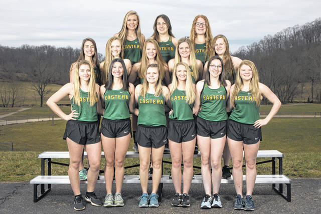 Pictured above are members of the 2019 TVC Hocking champion Eastern girls track and field team. Standing in the front row, from let, are Jaymie Basham, Rhiannon Morris, Ally Durst, Katlin Fick, Alysa Howard and Brielle Newland. Standing in the middle row are Alisa Ord, Ashton Guthrie, Sydney Sanders, Whitney Durst and Emma Epling. Standing in the back row are Avery Mugrage, Caterina Miecchi and Layna Catlett.