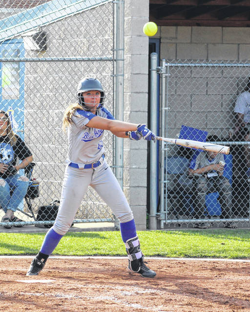 Gallia Academy senior Hunter Copley hits a ball to right field during an April 29 softball contest against Coal Grove at the Eastman Athletic Complex in Centenary, Ohio.