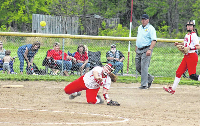 Wahama senior Tanner King throws a runner out at first base on Thursday, during the Lady Falcons' 8-0 victory over Ravenswood in Hartford, W.Va.