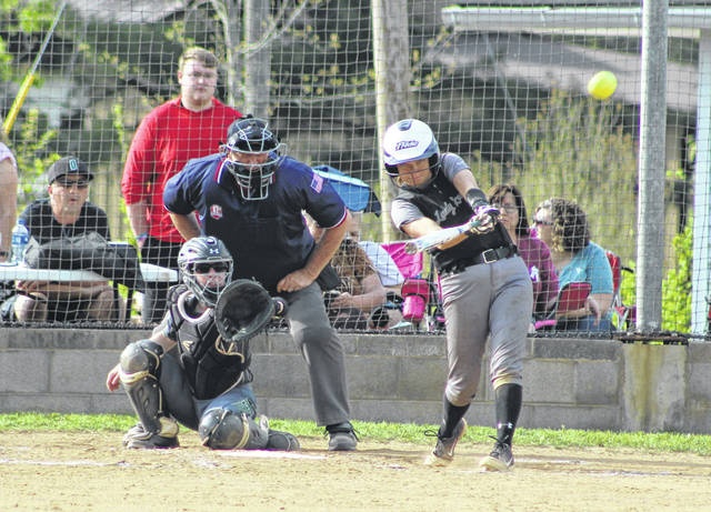 River Valley senior Chloe Gee belts out a hit during an April 24 TVC Ohio softball contest against Athens in Bidwell, Ohio.