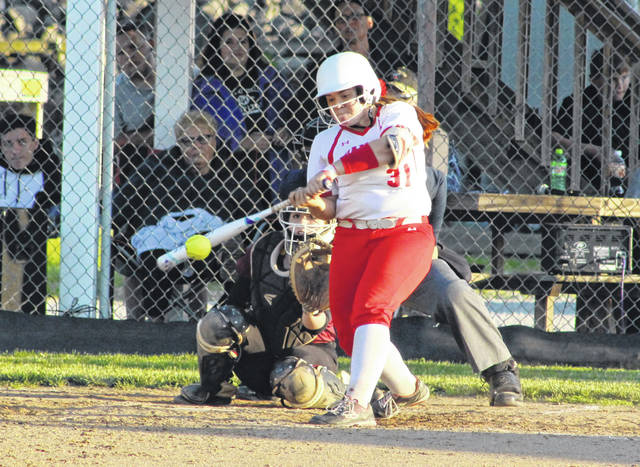 Wahama senior Tanner King belts out a hit during the eighth inning of Tuesday night's Class A Region IV softball opener against Sherman in Hartford, W.Va.