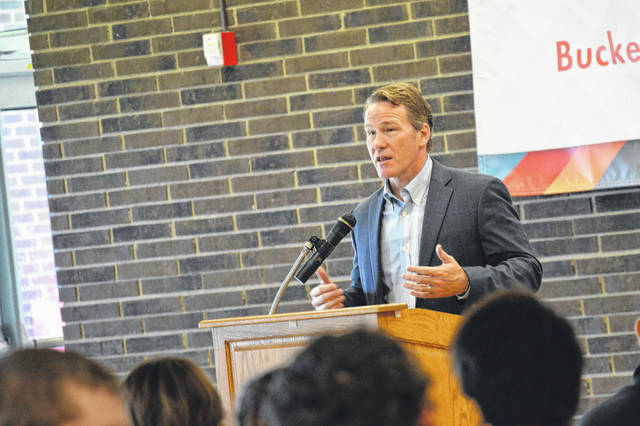 Ohio Lt. Gov. Jon Husted addresses Buckeye Hills Career Center students and guests.