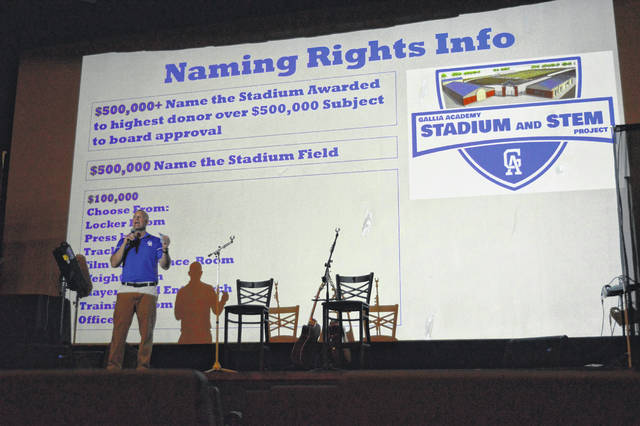 Gallipolis City Schools Superintendent Craig Wright addresses stadium supporters at the Colony Club Thursday evening during the GAHS Stadium and STEM Room fundraising kickoff.