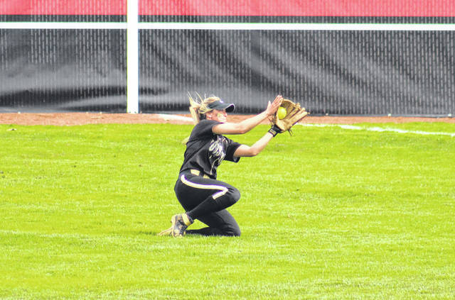 Wooster senior Chelsea Copley makes a sliding catch in right field, during a NCAC doubleheader at Denison on April 13 in Granville, Ohio.