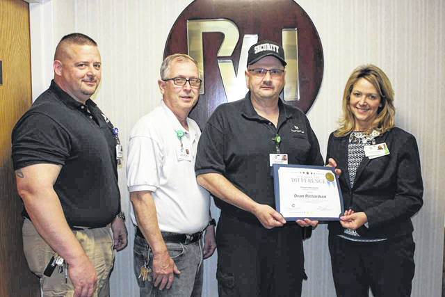 Dean Richardson, PVH Employee of the Month, is pictured third from left, along with Jimmy Freeman, security coordinator, Bryan Litchfield, director of operations and Connie Davis, interim chief executive officer.