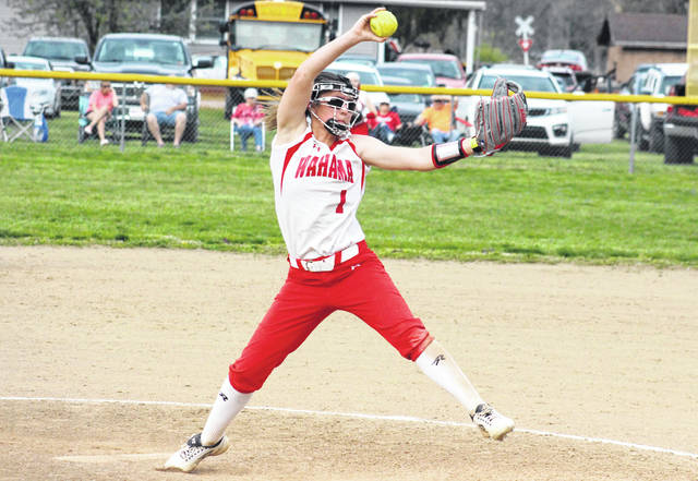 Wahama junior Hannah Rose delivers a pitch during the Lady Falcons' TVC Hocking victory over Waterford on April 11 in Hartford, W.Va.