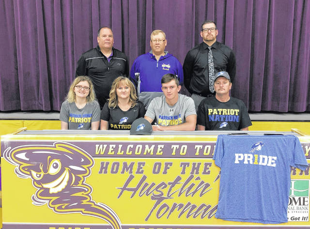 On April 23 at SHS, senior Billy Harmon signed his National Letter of Intent to join the Patrick Henry Community College baseball team. Sitting in the front row, from left, are Camryn Harmon, Jan Harmon, Billy Harmon and Bill Harmon. Standing in the back are Southern Superintendent Tony Deem, Tornadoes head baseball coach Kyle Wickline, and SHS Principal Daniel Otto.