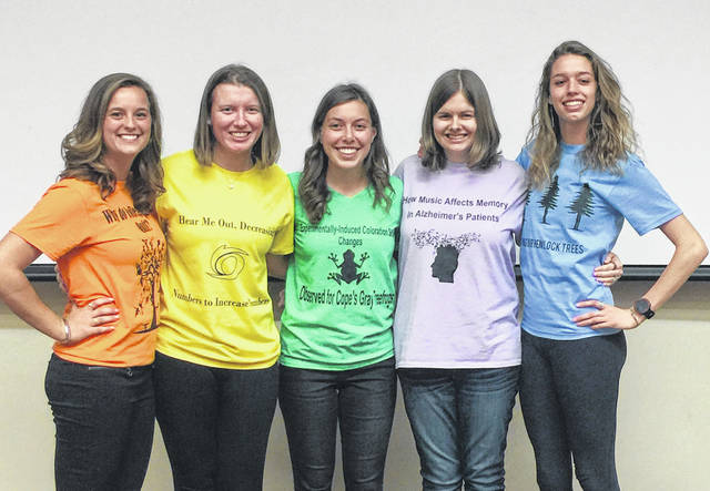 Students from the University of Rio Grande Honors Program presented their senior projects this spring. Pictured left to right are Taylor Grubb, Kaylynn Bell, Kelsey Miller, Katie Higgins and Lucy Williams.
