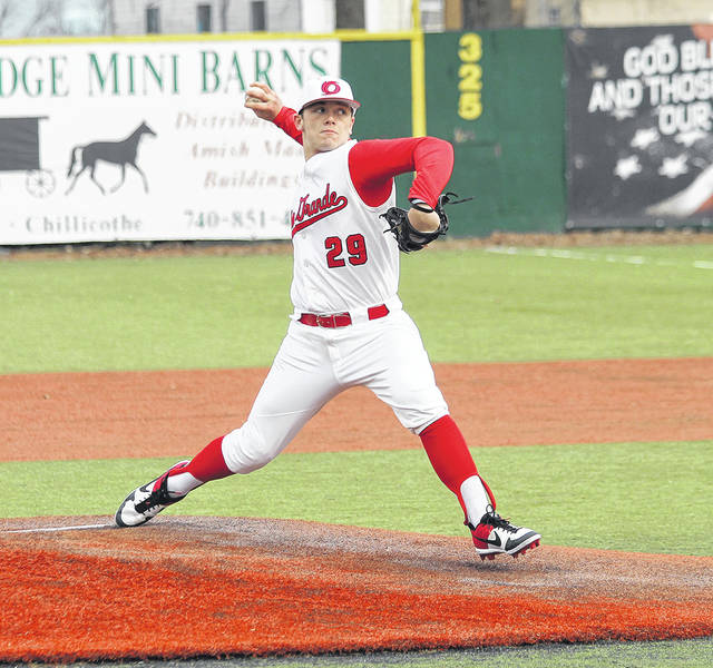 University of Rio Grande junior Dylan Shockley releases a pitch during a Feb. 22 baseball game. Shockley became the third RedStorm baseball player to be selected in the MLB Draft after the Pittsburgh Pirates drafted the two-time RSC Player of the Year in the 34th round on Wednesday.