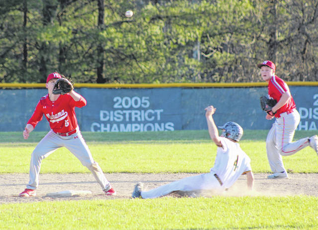 Wahama shortstop Tanner Smith, left, receives a throw at second base as Eastern's Colton Reynolds slides safely into the bag during an April 2 TVC Hocking contest in Tuppers Plains, Ohio.