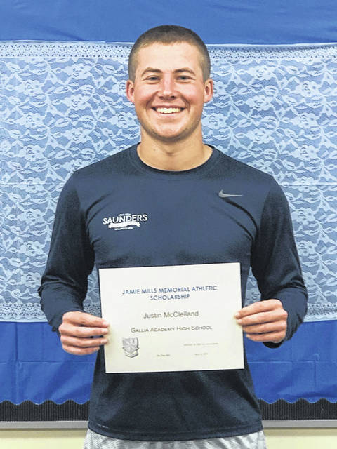 """Gallia Academy High School recently announced that Justin McClelland has been awarded the 2019 Jamie Mills Memorial Athletic Scholarship. Justin is the son of Jared and Jennifer McClelland of Bidwell. To be considered for the scholarship, the student must have earned four varsity letters in his/her athletic career, plan to attend a two or four year institution upon graduation, have an overall GPA of 3.0, and demonstrate financial need. The family of Jamie Mills established this scholarship last year in honor of their brother. A statement from Jamie's sibling states, """"Jamie Mills graduated from Gallia Academy High School in 1979. He played football and wrestled and his love of sports continued long after high school. Jamie moved to Florida in his early twenties but loved coming home to Gallipolis to visit friends and family. We, his family, feel fortunate to help a GAHS student in memory of Jamie."""""""
