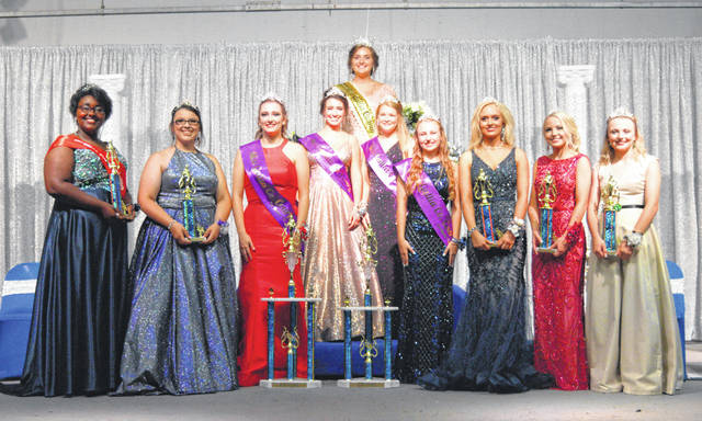 From left to right are Miss Congeniality Destiny Dotson, Ashleigh Miller, Miss Gallia Third Runner-Up Isabella Moore, Miss Gallia First Runner-up Grace Montgomery, Miss Gallia 2019 Skylar Jones, Miss Gallia Second Runner-Up Allivia Runyon, Miss Gallia Fourth Runner-Up Olivia Harrison, Abby VanSickle, Kirsten Hesson and Bailey Walter.