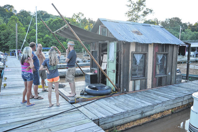 A Secret History of American River People's shantyboat docks at the Gallipolis Boat Club.