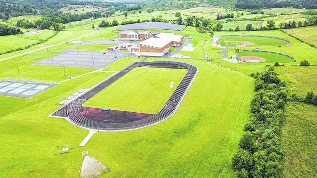 Pictured is an aerial view of where the new football stadium and STEM facility for Gallia Academy High School will be located, on the school's current campus.