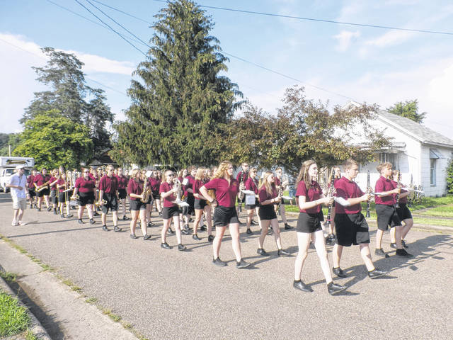 The Meigs Marauder Marching Band members played a patriotic tune for parade spectators.