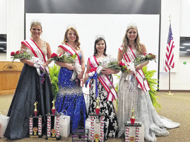 Pictured third from left, is Gallipolis River Recreation Festival Queen Darcie Harbour, joined by her court, First Runner-up Emma Shamblin pictured second from left, Second Runner-up Gabrielle Gibson pictured far right and Third Runner-up Koren Truance at far left.