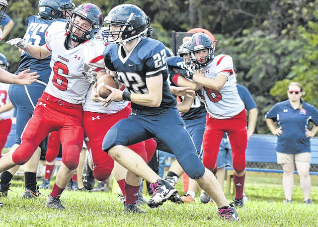 Hannan's Jordan Fitzwater (22) carries the ball during the Wildcats contest against Hundred on Sept. 15, 2018 in Ashton, W.Va.
