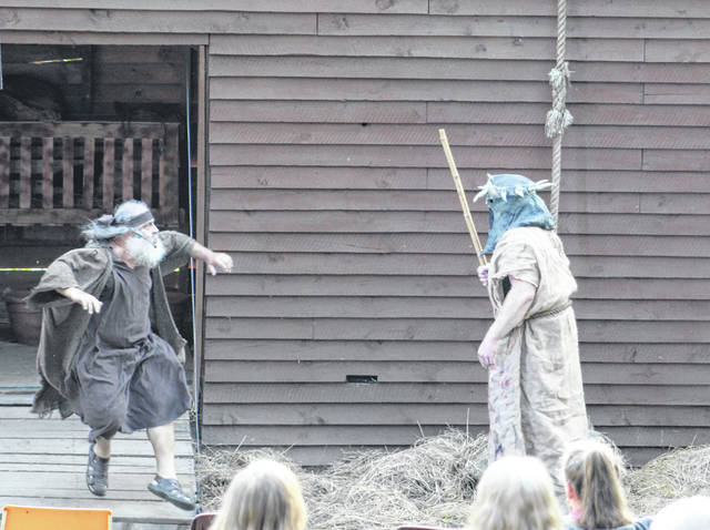 Noah is confronted by a masked warrior during Part One of the drama.