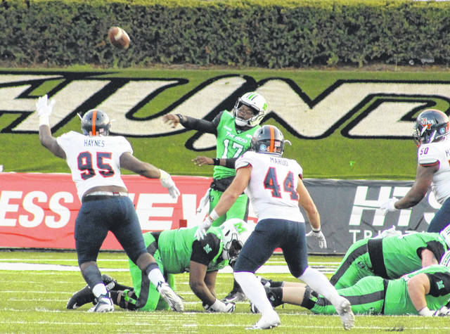 Marshall quarterback Isaiah Green (17) releases a pass during a Nov. 17, 2018, football contest against Texas San Antonio at Joan C. Edwards Stadium in Huntington, W.Va.