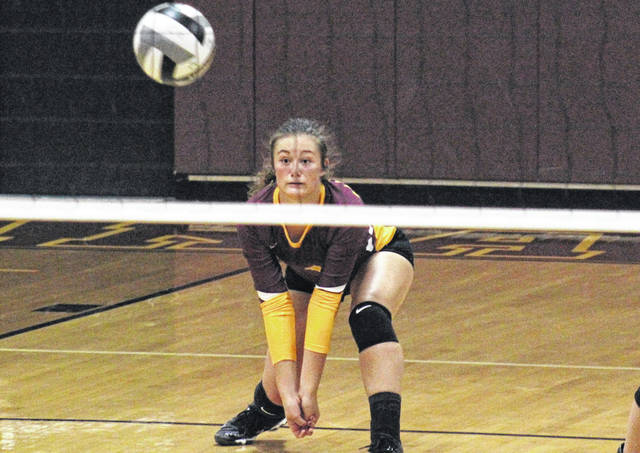 Meigs junior Baylee Tracy receives a serve, during the Lady Marauders' loss to Logan on Wednesday, Ohio.
