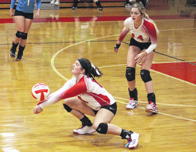 Wahama sophomore Abby Pauley bumps a ball in the air during Game 2 of Thursday night's TVC Hocking volleyball match against Waterford at Gary Clark Court in Mason, W.Va.