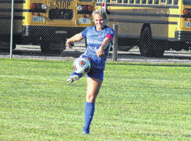 Gallia Academy senior Megan Bailey (4) sends the ball up field, during the Blue Angels' 4-1 setback to Point Pleasant on Tuesday in Centenary, Ohio.
