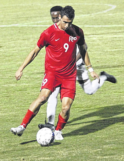 Rio Grande's Nicolas Cam Orellana scored one of the RedStorm's three goals in Saturday's 3-0 win over Asbury at Evan E. Davis Field.