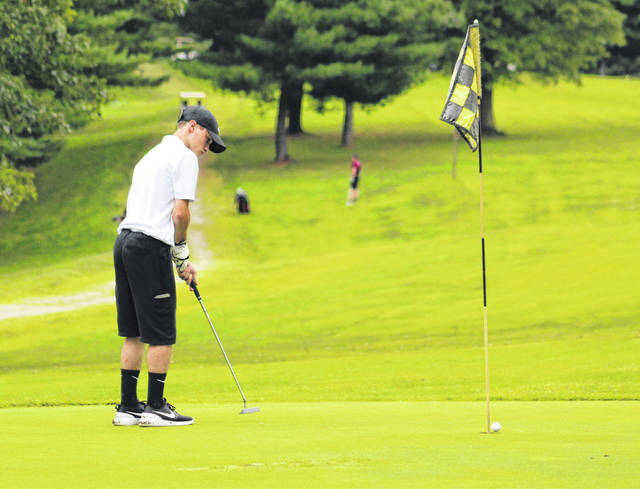 River Valley sophomore Dalton Mershon watches a putt attempt go past the hole during an Aug. 27 match at Meigs Golf Course in Pomeroy, Ohio.