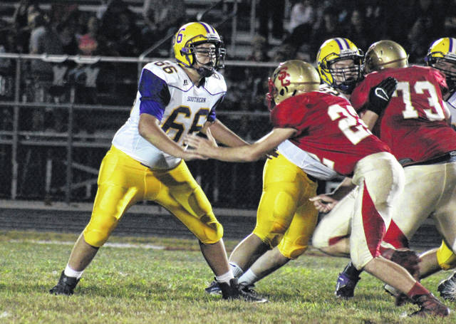 Southern sophomore Braxton Crisp (66) looks to block South Gallia senior Justin Butler (22), during the Tornadoes' Week 6 win in Mercerville, Ohio.