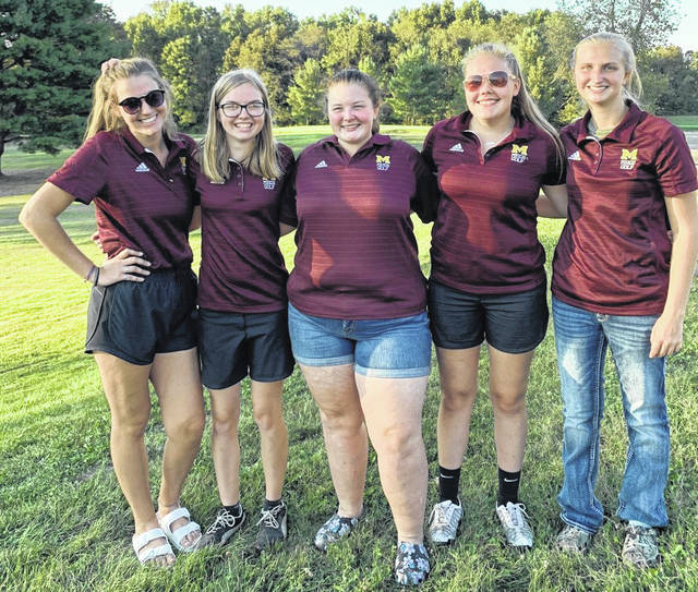 Pictured above are members of the 2019 TVC champion Meigs girls golf team. Standing from left to right are Shelby Whaley, Caitlin Cotterill, Mikayla Radcliffe, Kylee Robinson and Olivia Haggy.