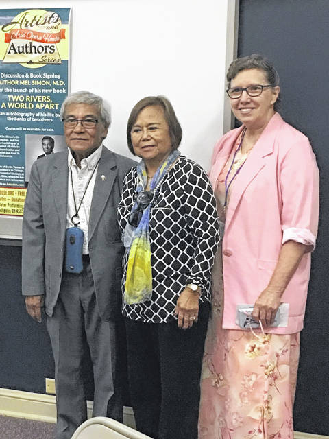 Patrecia Gray, far right, leader of the Point Pleasant Writers Guild, is pictured with Dr. and Mrs. Mel Simon. Dr. Mel was one of three guest speakers at a recent meeting.