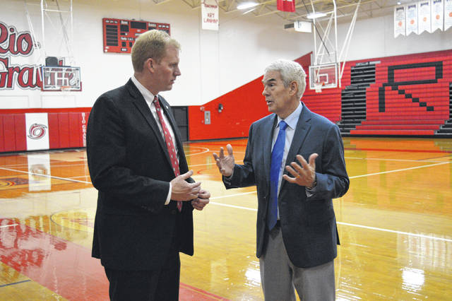 Newly appointed University of Rio Grande and Rio Grande Community College President Ryan Smith speaks with Ohio Department of Education Chancellor Randy Gardner.