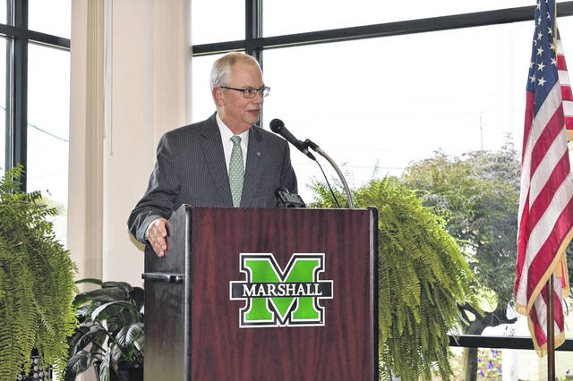 Marshall University President Jerome Gilbert addresses those gathered for the 25th anniversary of the Mid-Ohio Valley Center this week in Point Pleasant, W.Va.