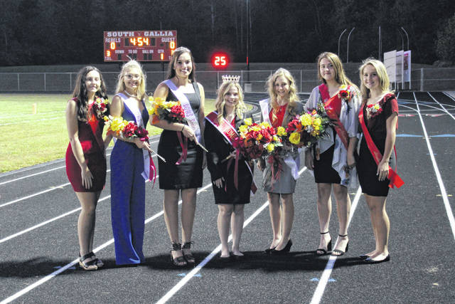 The 2019 South Gallia High School Homecoming Court from left to right: Sophomore Attendant Ellen Weaver, Princess Alison Lockhart, Princess Olivia Johnson, Homecoming Queen Sydney St. Clair, Princess Olivia Harrison, Junior Attendant Mikayla Waugh, and Freshman Attendant Natalie Swain.