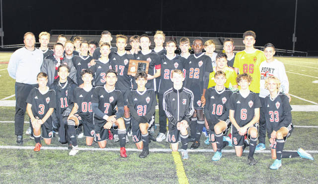 Members of the Point Pleasant varsity boys soccer program pose for a picture after winning the Class AA-A Region IV, Section 1 championship Thursday night with a 3-0 decision over Sissonville at OVB Field in Point Pleasant, W.Va.