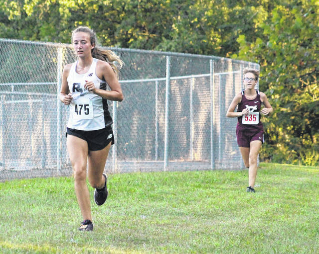 River Valley senior Savannah Reese (475) hits full stride at the 2019 Skyline Lanes Invitational held on Sept. 4 at River Valley High School in Bidwell, Ohio.