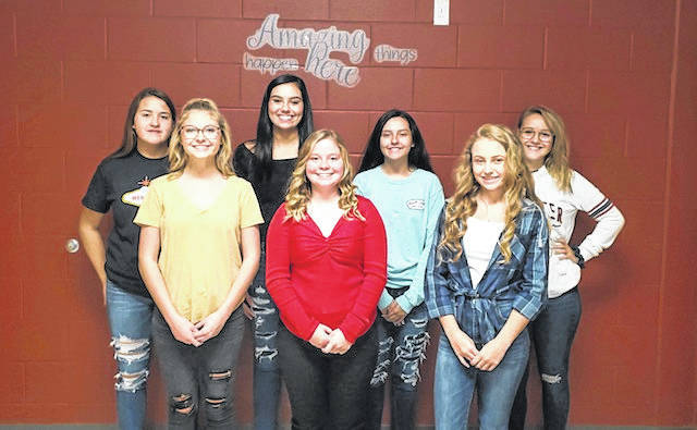 South Gallia High School has been celebrating homecoming all week and this Friday, Oct. 4, the Rebels will take on the Southern Tornadoes on the football field in Mercerville. Homecoming festivities start prior to the game at 6:30 p.m., with the crowning of the homecoming queen at 7 p.m. Pictured are members of the homecoming court, from left, Junior Attendant Mikayla Waugh, Queen Candidate Alison Lockhart, Queen Candidate Olivia Johnson, Queen Candidate Sydney St. Clair, Sophomore Attendant Ellen Weaver, Queen Candidate Olivia Harrison, and Freshman Attendant Natalie Swain. More on the homecoming royalty in an upcoming edition.