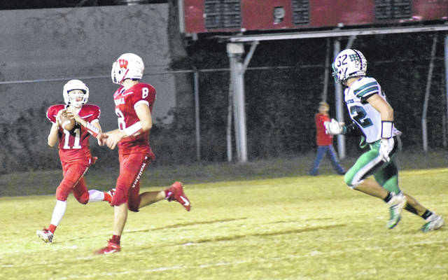 Pictured are Wahama seniors Brayden Davenport (11) and Abram Pauley (8) during Friday's homecoming contest against Waterford.