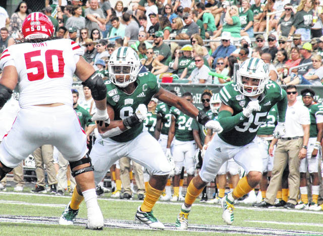 Bobcats Will Evans (9) and Dylan Conner (35) run an outside blitz, during the Bobcats' non-conference loss to Louisiana on Sept. 21 in Athens, Ohio.