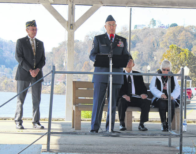Master Sgt. Wheeler addresses the crowd during Monday's ceremony.