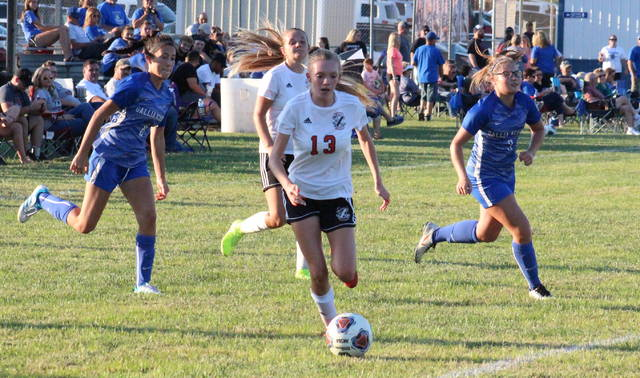 PPHS sophomore Kady Hughes (13) heads toward the goal, during the Lady Knights win over Gallia Academy on Sept. 3 in Centenary, Ohio.