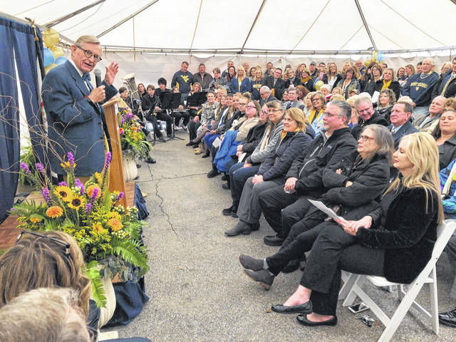WVU President E. Gordon Gee speaks during the celebration on Tuesday in Ripley, officially welcoming Jackson General Hospital as part of WVU Medicine.