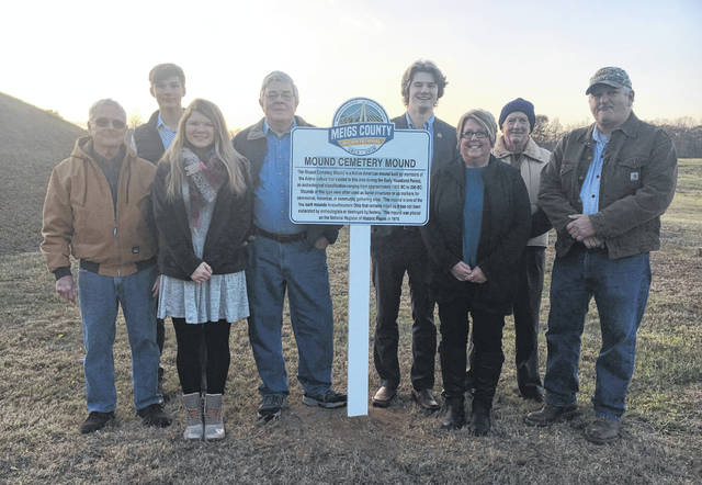CSHA members are pictured with Bicentennial Ambassadors at the Bicentennial Marker ceremony in Chester Township. Pictured are CSHA Treasurer, Dave Schatz, Bicentennial Ambassadors Cooper Schagel and Brielle Newland, CSHA President Dan Will, Bicentennial Ambassadors Grant Adams, CSHA Members Becky Grate, Jimmy Stewart, and Jim Smith, who were among those in attendance at Wednesday's unveiling.