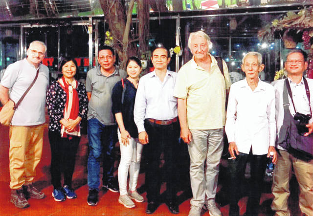 The group which traveled to LZ Gold in March 2019 included (from left) Charlie Brewer, Huong Thu (translator), Mr. Phuc, Mai Huong Nguyen Thi (translator), Colonel Mai Xuan Chien of the Socialist Republic of Vietnam (retired Army), Michael Doolittle, Mr. Ha (war veteran of Suoi Tre) and Nguyen Xuan Thang (historian and architect).