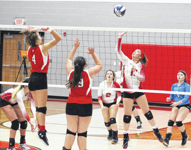 Wahama senior Hannah Rose leaps for a spike attempt during Game 4 of Tuesday night's Class A Region IV, Section 1 volleyball tournament match against Ravenswood in Ravenswood, W.Va.